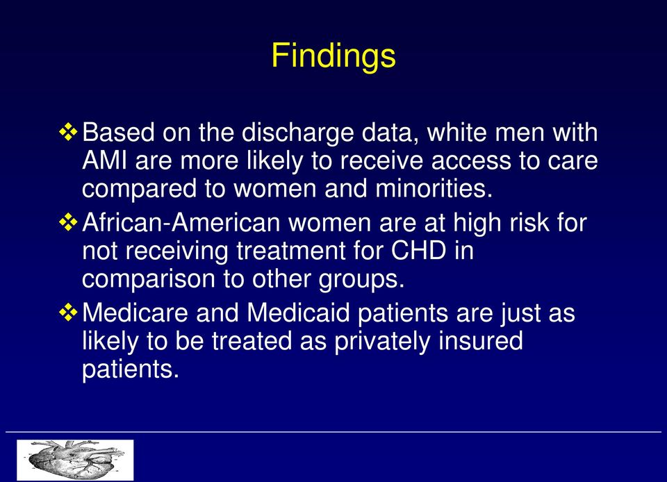 African-American women are at high risk for not receiving treatment for CHD in