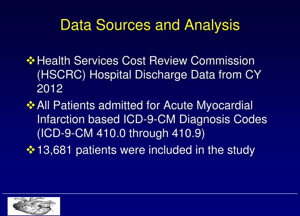 for Acute Myocardial Infarction based ICD-9-CM Diagnosis Codes