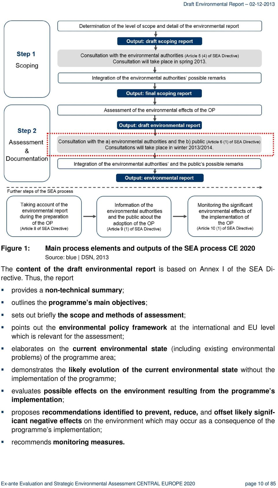 international and EU level which is relevant for the assessment; elaborates on the current environmental state (including existing environmental problems) of the programme area; demonstrates the