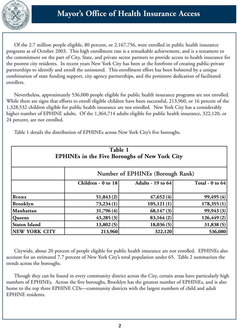 poorest city residents. In recent years New York City has been at the forefront of creating public-private partnerships to identify and enroll the uninsured.