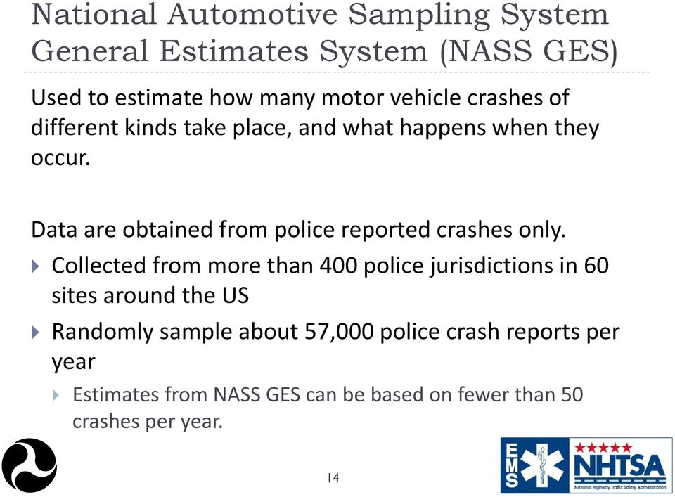 Data are obtained from police reported crashes only.