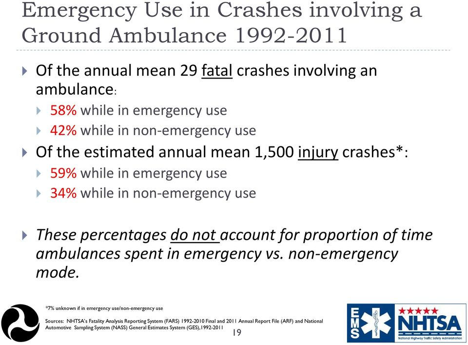 account for proportion of time ambulances spent in emergency vs. non-emergency mode.