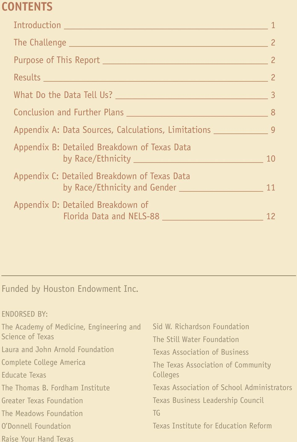 by Race/Ethnicity and Gender 11 Appendix D: Detailed Breakdown of Florida Data and NELS-88 12 Funded by Houston Endowment Inc.
