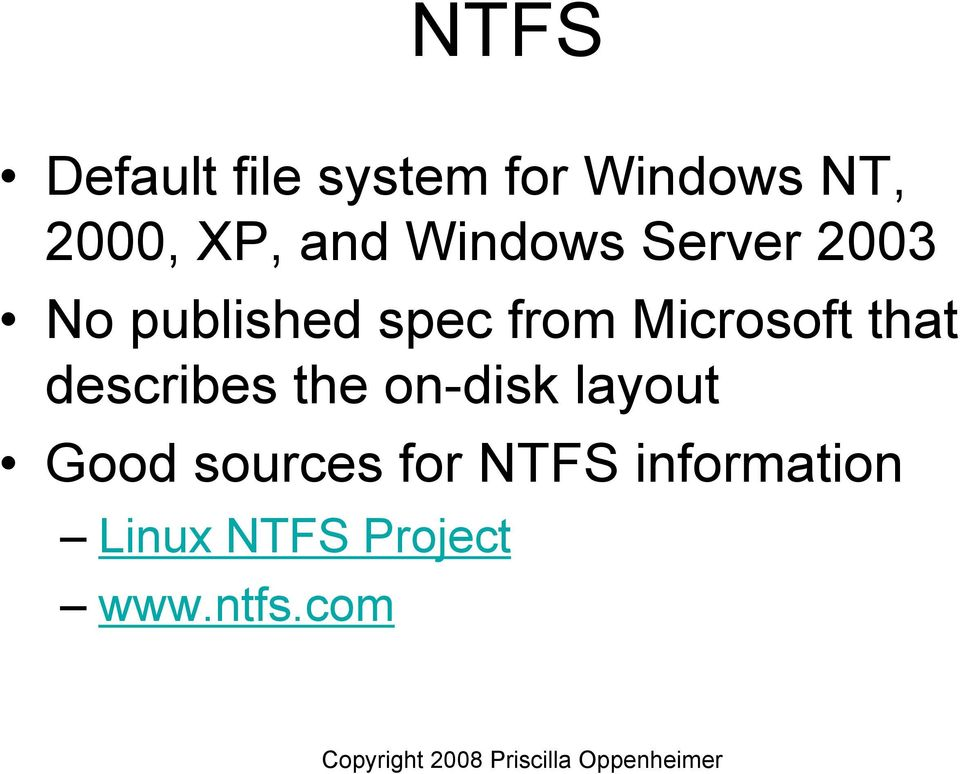 Microsoft that describes the on-disk layout Good