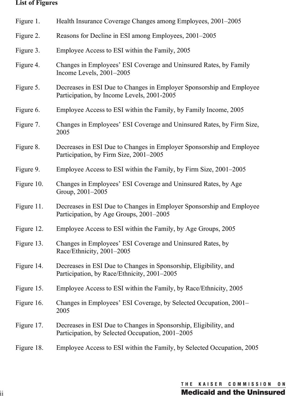 Changes in Employees ESI Coverage and Uninsured Rates, by Family Income Levels, 2001 2005 Decreases in ESI Due to Changes in Employer Sponsorship and Employee Participation, by Income Levels,