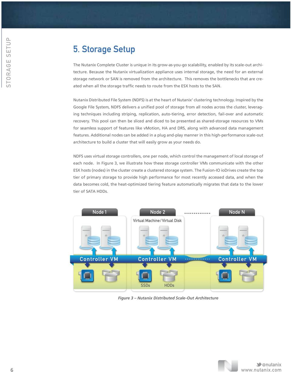 This removes the bottlenecks that are created when all the storage traffic needs to route from the ESX hosts to the SAN.