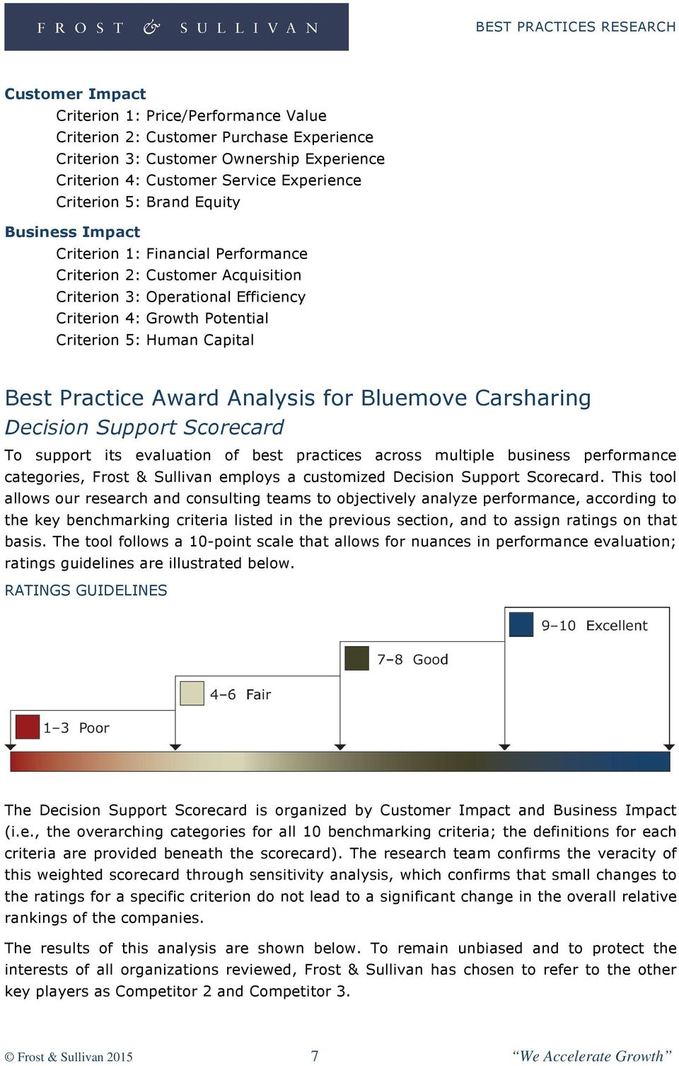 Award Analysis for Bluemove Carsharing Decision Support Scorecard To support its evaluation of best practices across multiple business performance categories, Frost & Sullivan employs a customized