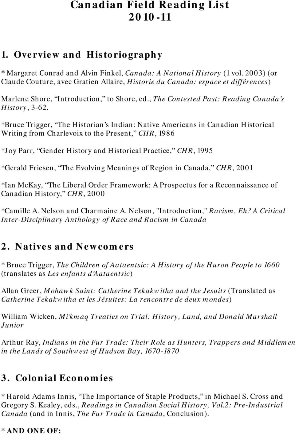 *Bruce Trigger, The Historian s Indian: Native Americans in Canadian Historical Writing from Charlevoix to the Present, CHR, 1986 *Joy Parr, Gender History and Historical Practice, CHR, 1995 *Gerald