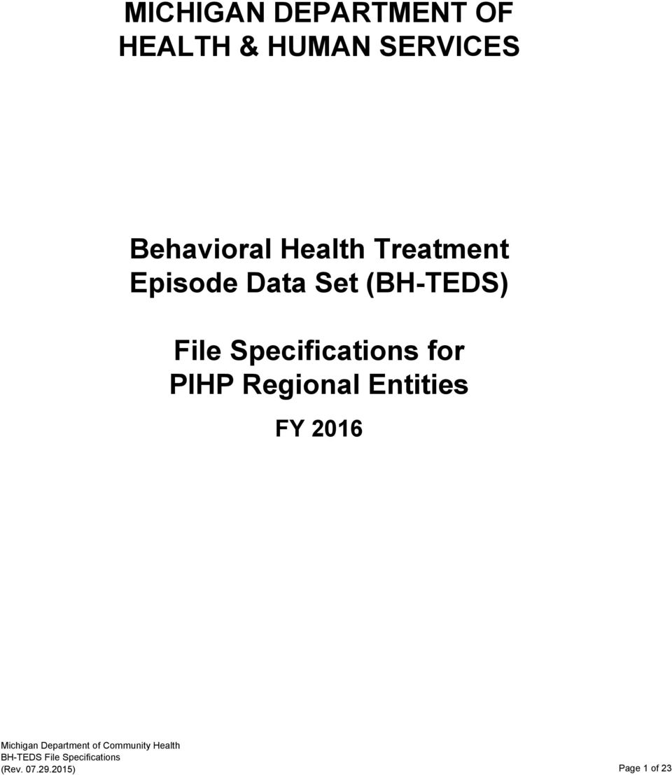 (BH-TEDS) File Specifications for PIHP