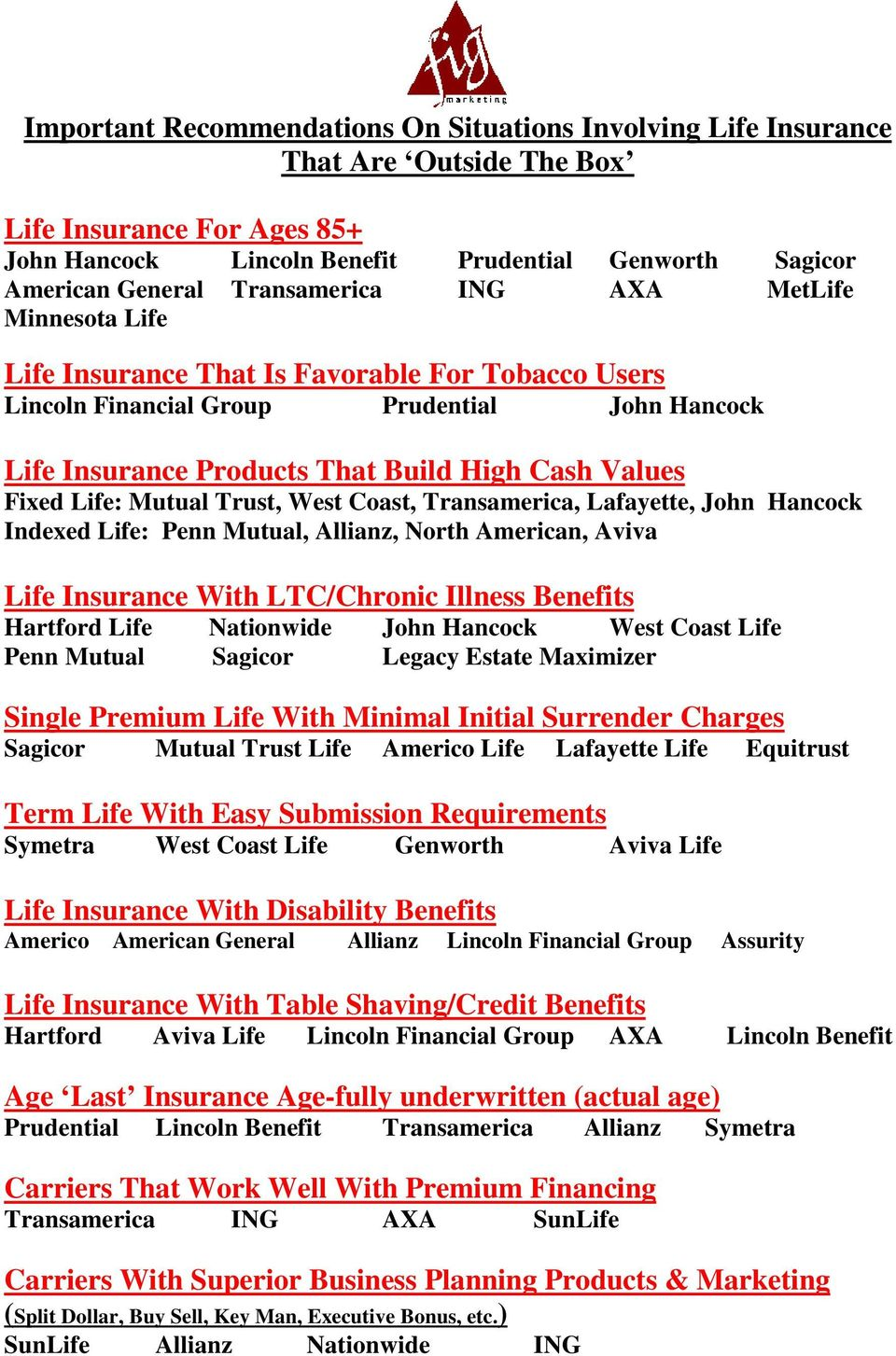 Transamerica, Lafayette, John Hancock Indexed Life: Penn Mutual, Allianz, North American, Aviva Life Insurance With LTC/Chronic Illness Benefits Hartford Life Nationwide John Hancock Penn Mutual