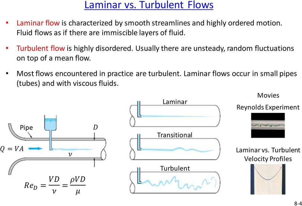 Usually there are unsteady, random fluctuations on top of a mean flow. Most flows encountered in practice are turbulent.