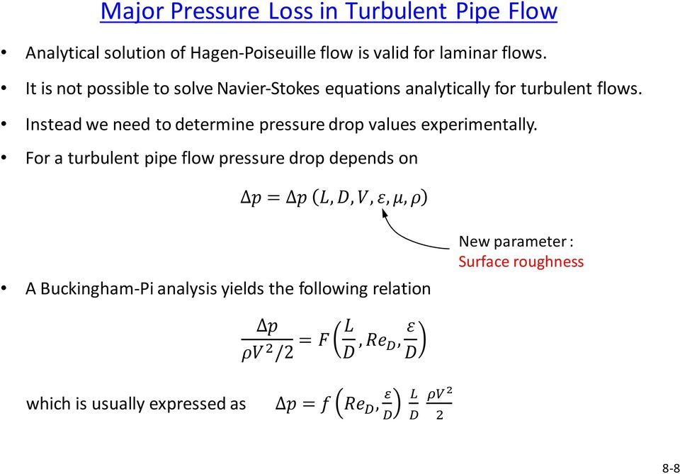Instead we need to determine pressure drop values experimentally.