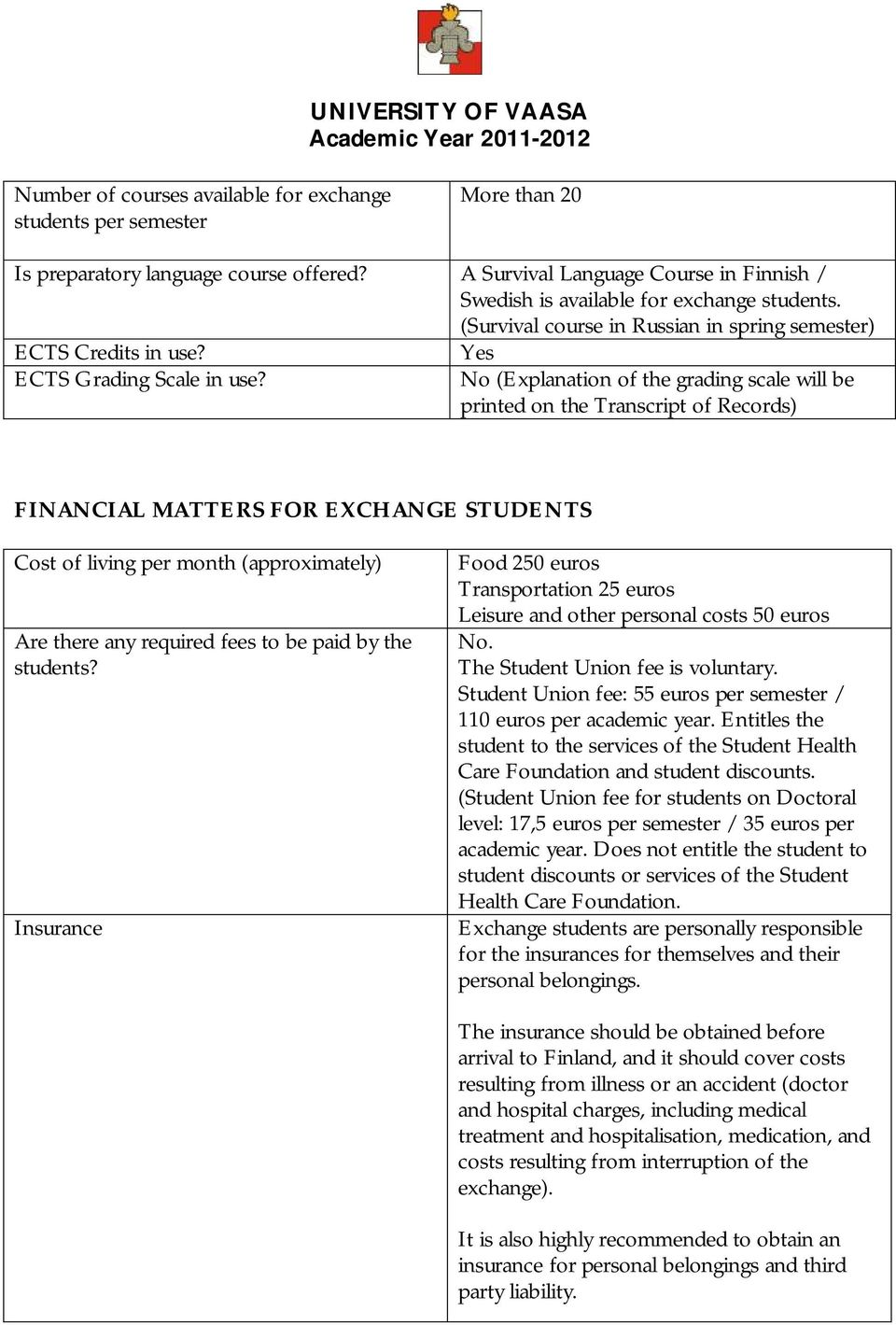 Yes No (Explanation of the grading scale will be printed on the Transcript of Records) FINANCIAL MATTERS FOR EXCHANGE STUDENTS Cost of living per month (approximately) Are there any required fees to