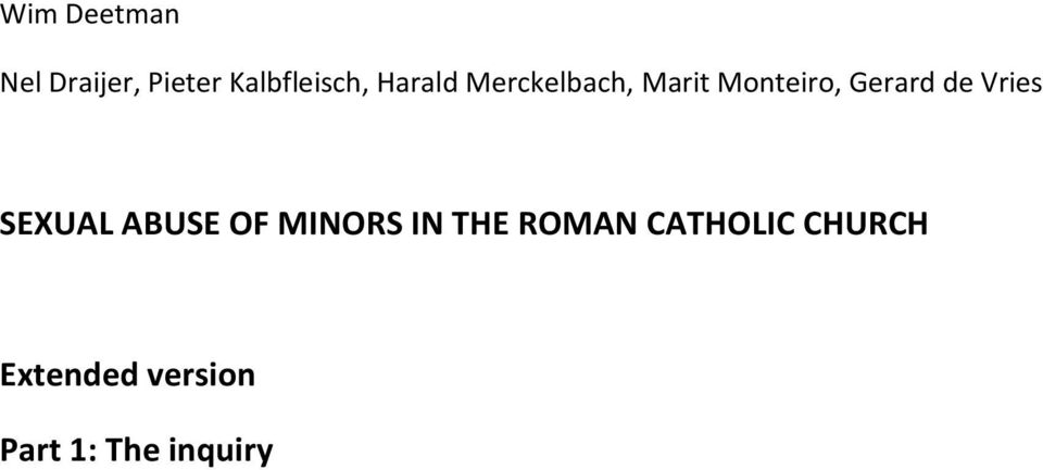 Vries SEXUAL ABUSE OF MINORS IN THE ROMAN