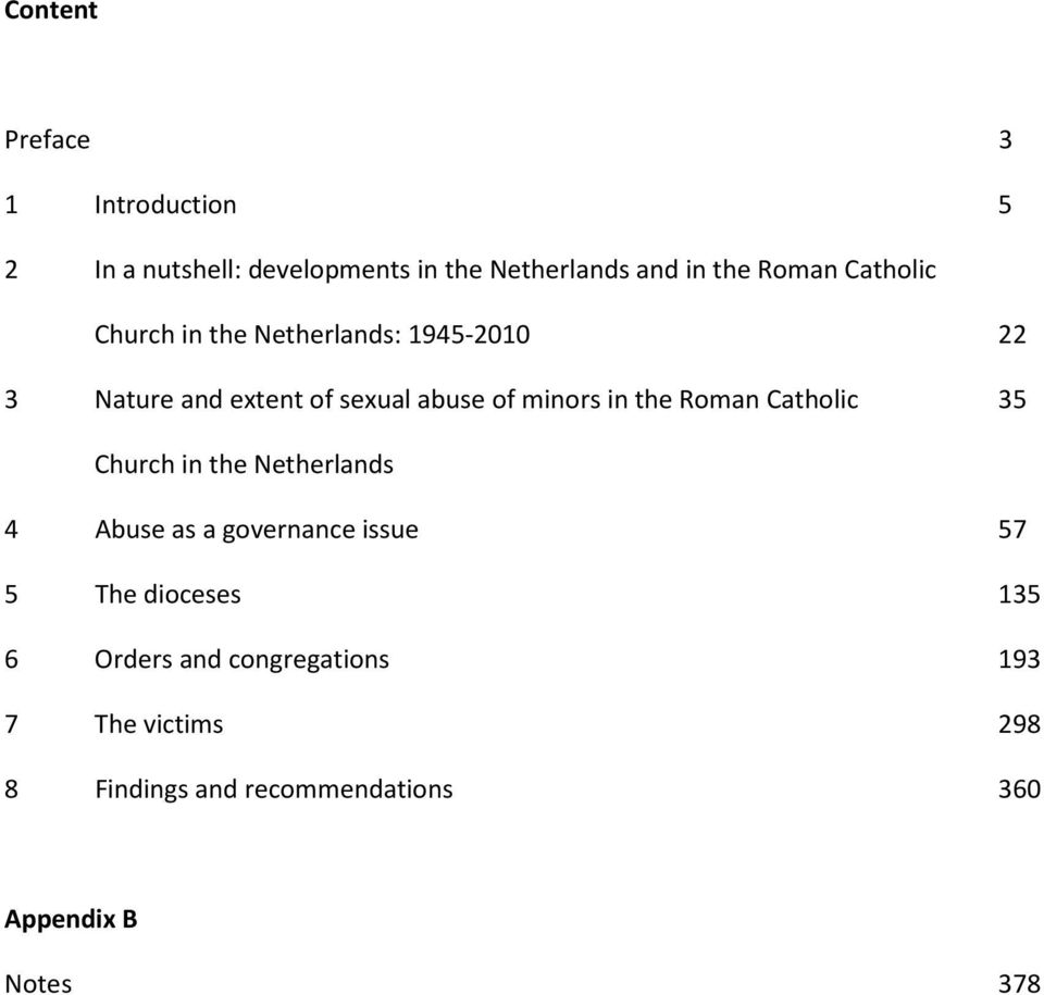 the Roman Catholic 35 Church in the Netherlands 4 Abuse as a governance issue 57 5 The dioceses 135