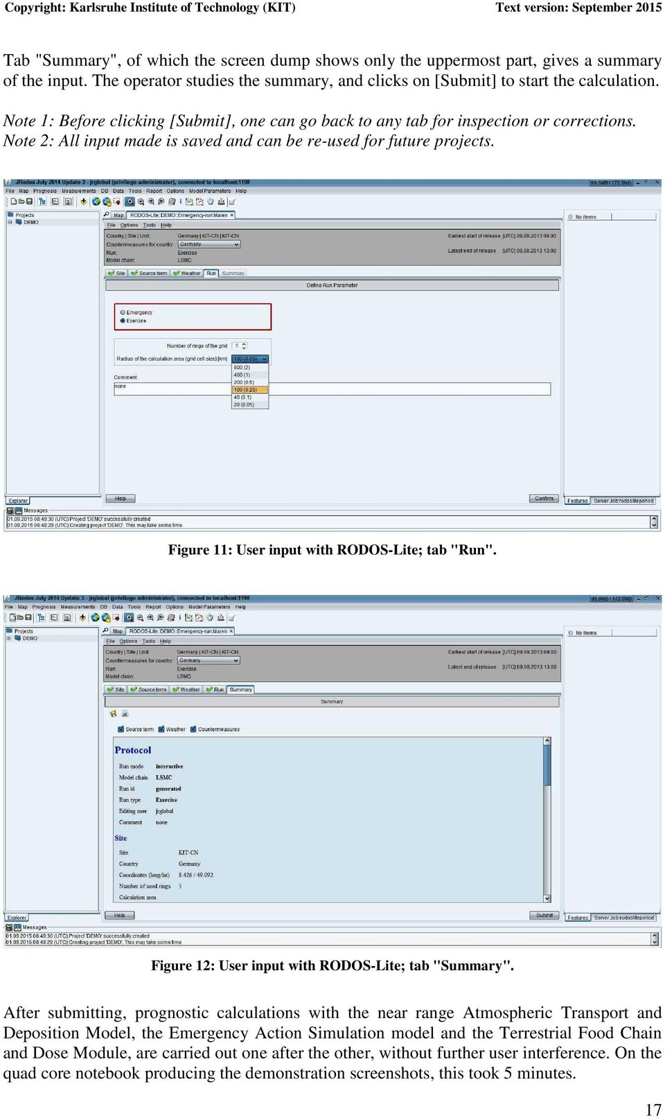 "Figure 11: User input with RODOS-Lite; tab ""Run"". Figure 12: User input with RODOS-Lite; tab ""Summary""."