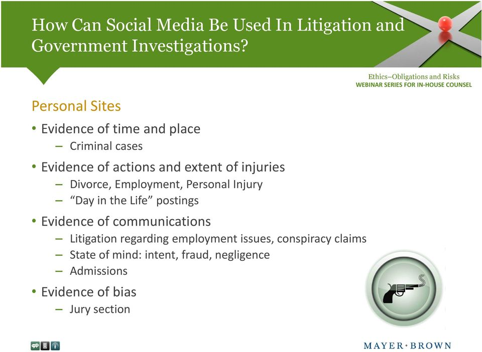 Divorce, Employment, Personal Injury Day in the Life postings Evidence of communications Litigation