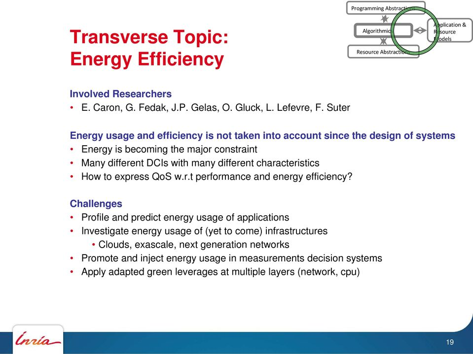 Suter Energy usage and efficiency is not taken into account since the design of systems Energy is becoming the major constraint Many different DCIs with many different characteristics