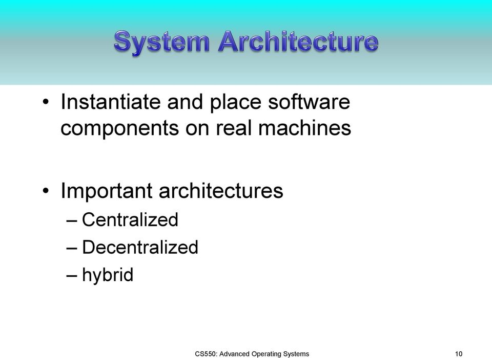 architectures Centralized