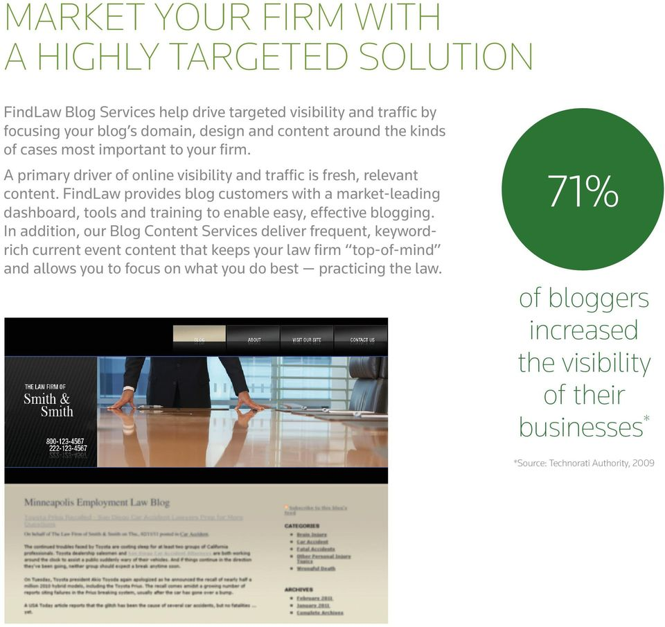 FindLaw provides blog customers with a market-leading dashboard, tools and training to enable easy, effective blogging.