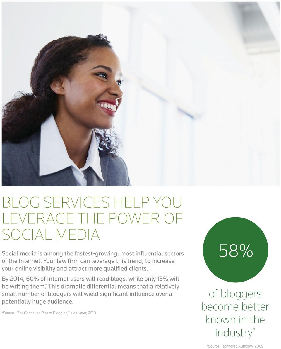 By 2014, 60% of Internet users will read blogs, while only 13% will be writing them.