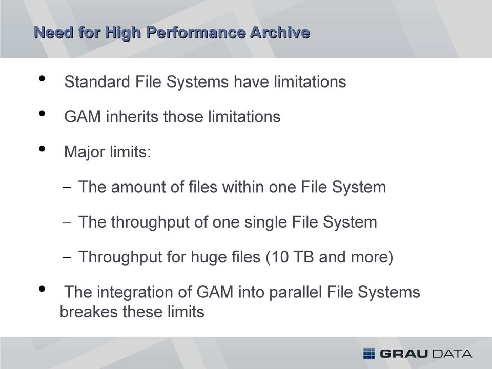 System The throughput of one single File System Throughput for huge files (10