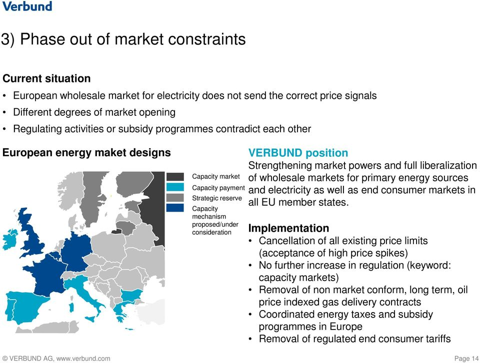 Strengthening market powers and full liberalization of wholesale markets for primary energy sources and electricity as well as end consumer markets in all EU member states.