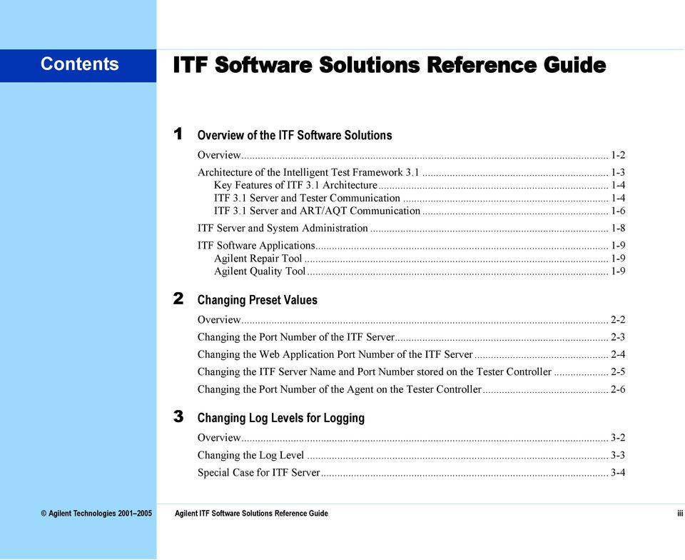 .. 1-9 Agilent Quality Tool... 1-9 2 Changing Preset Values Overview... 2-2 Changing the Port Number of the ITF Server... 2-3 Changing the Web Application Port Number of the ITF Server.