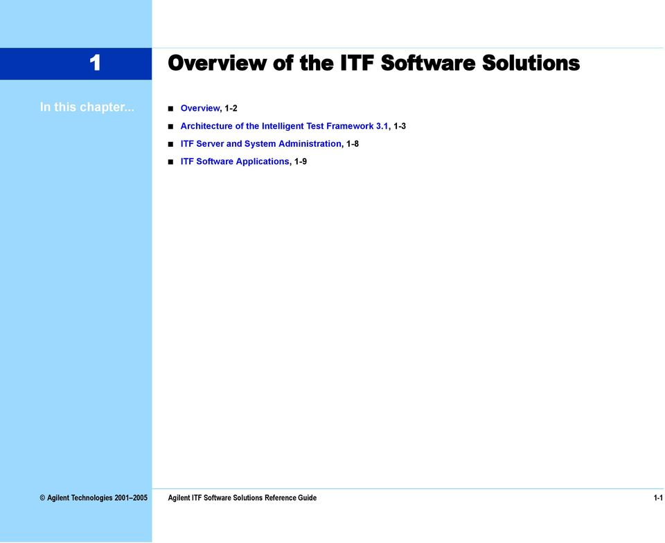 1, 1-3 ITF Server and System Administration, 1-8 ITF Software