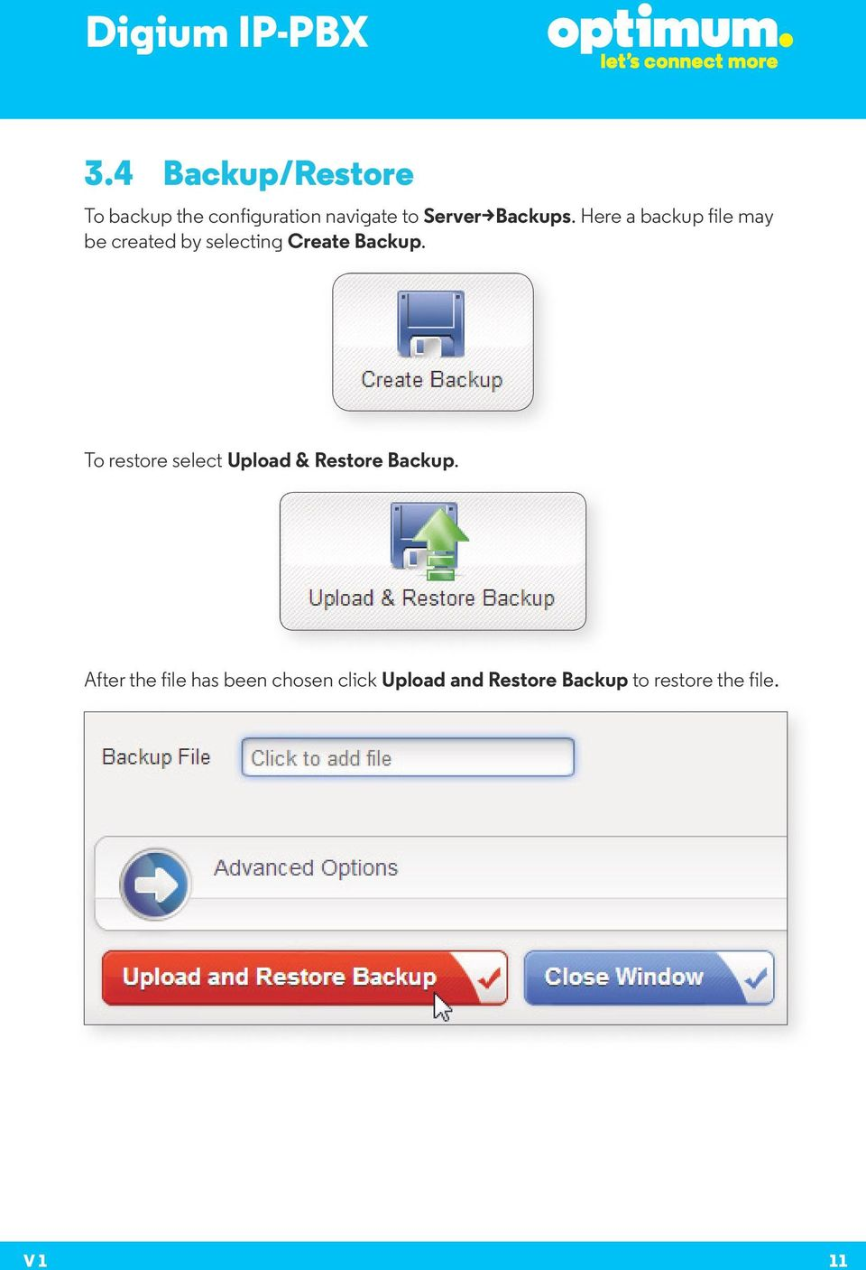 Here a backup file may be created by selecting Create Backup.