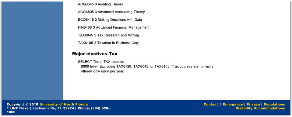 electives-tax SELECT Three TAX courses 6000 level.