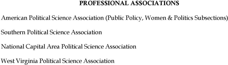 Southern Political Science Association National Capital Area