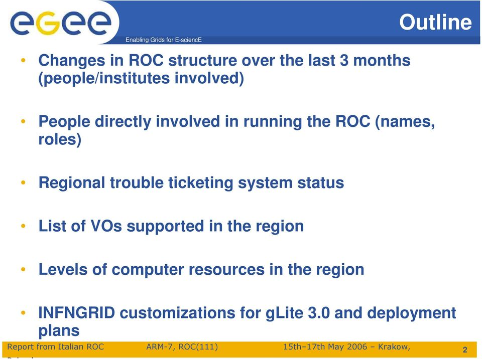 trouble ticketing system status List of VOs supported in the region Levels of