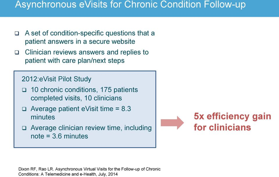 completed visits, 10 clinicians Average patient evisit time = 8.3 minutes Average clinician review time, including note = 3.