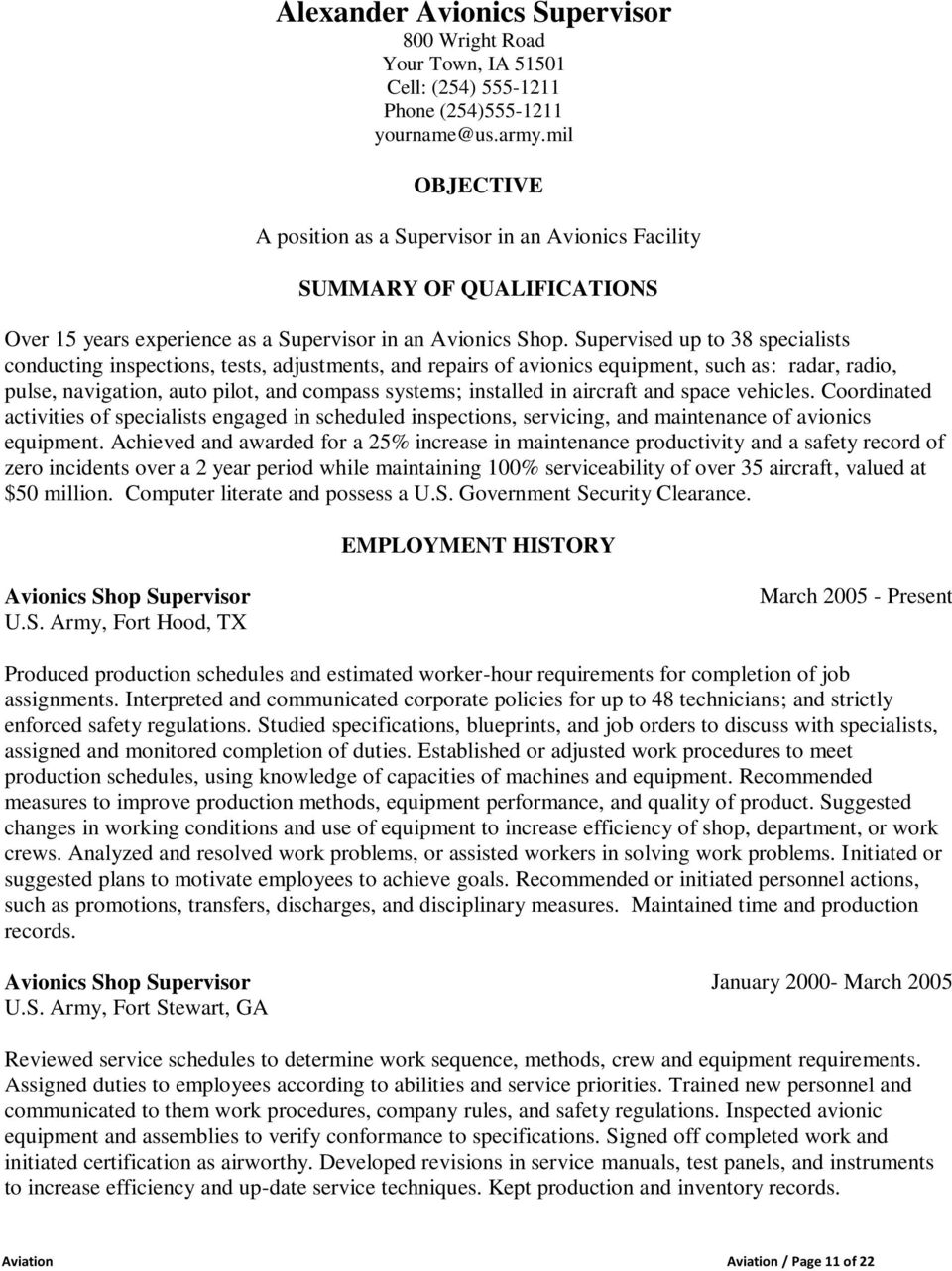 sample resumes for aviation pdf
