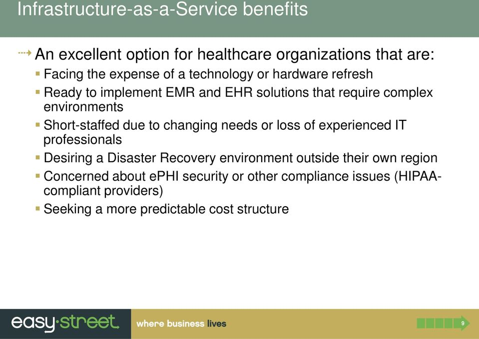 to changing needs or loss of experienced IT professionals Desiring a Disaster Recovery environment outside their own region