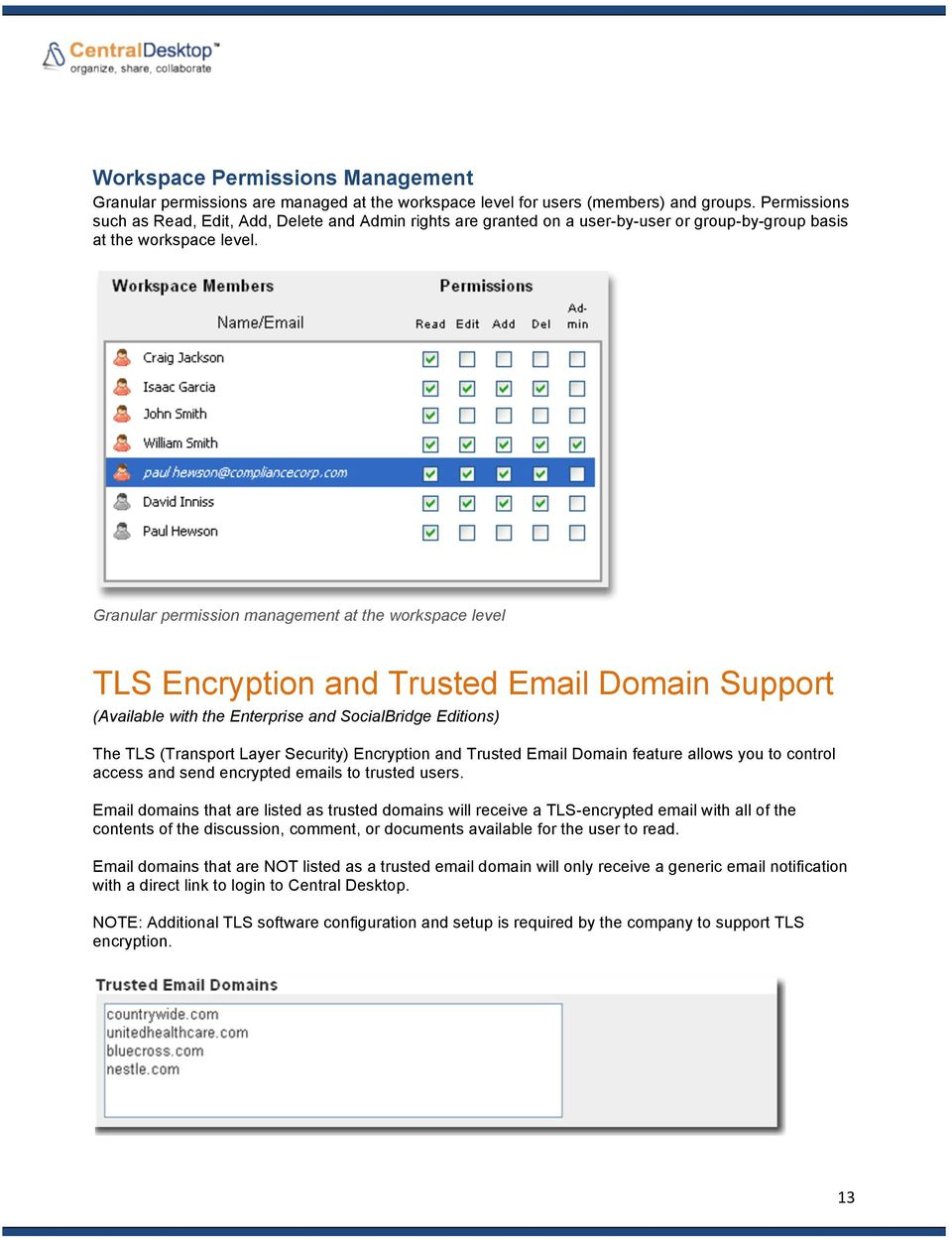 Granular permission management at the workspace level TLS Encryption and Trusted Email Domain Support (Available with the Enterprise and SocialBridge Editions) The TLS (Transport Layer Security)