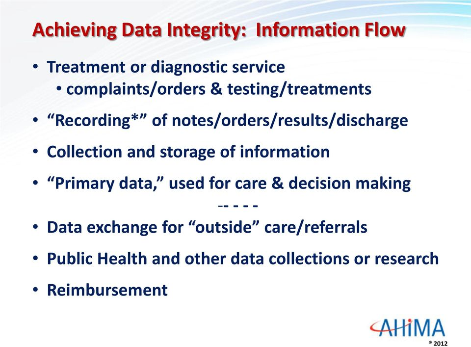 Collection and storage of information Primary data, used for care & decision making -- -