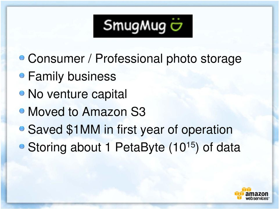 to Amazon S3 Saved $1MM in first year of