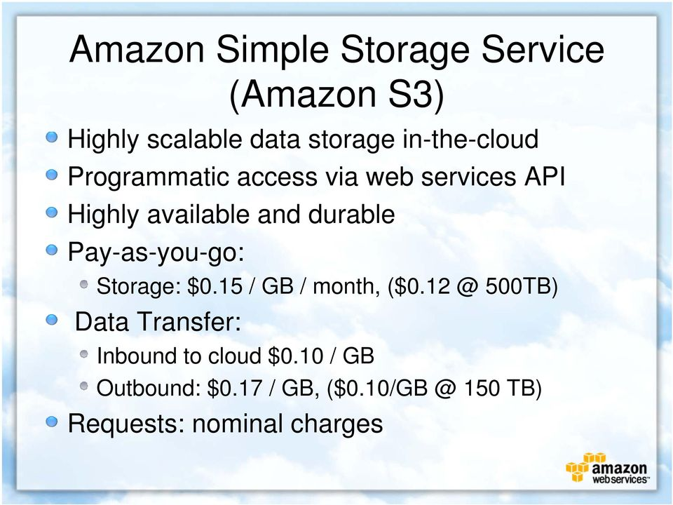 durable Pay-as-you-go: Storage: $0.15 / GB / month, ($0.