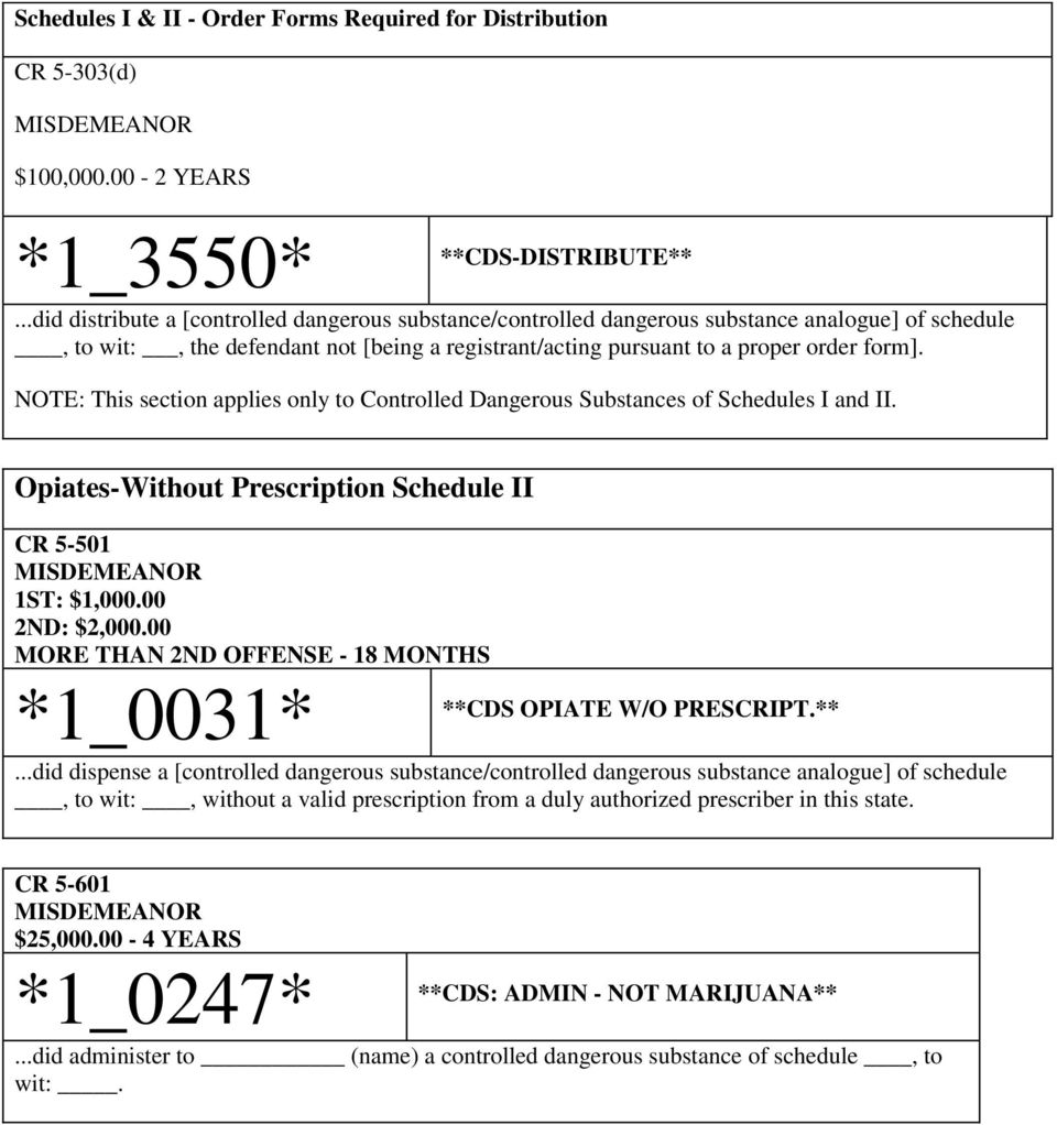 NOTE: This section applies only to Controlled Dangerous Substances of Schedules I and II. Opiates-Without Prescription Schedule II CR 5-501 1ST: $1,000.00 2ND: $2,000.