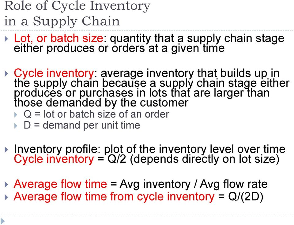 than those demanded by the customer Q = lot or batch size of an order D = demand per unit time Inventory profile: plot of the inventory level over