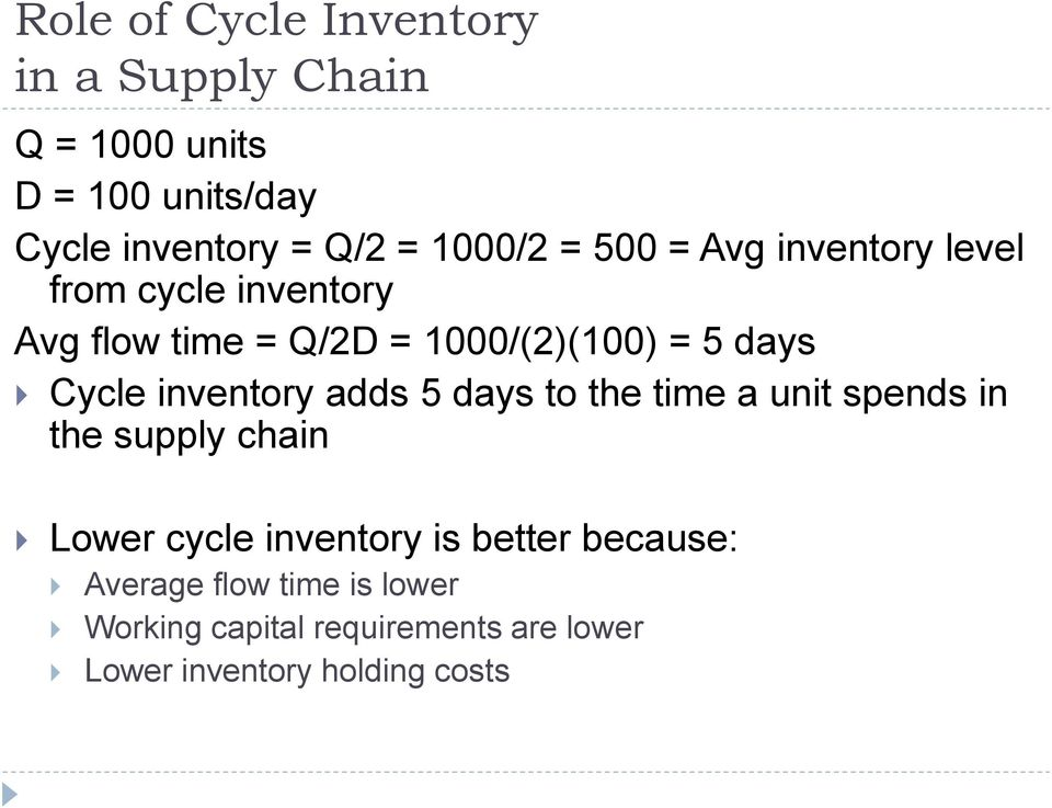 Cycle inventory adds 5 days to the time a unit spends in the supply chain Lower cycle inventory is