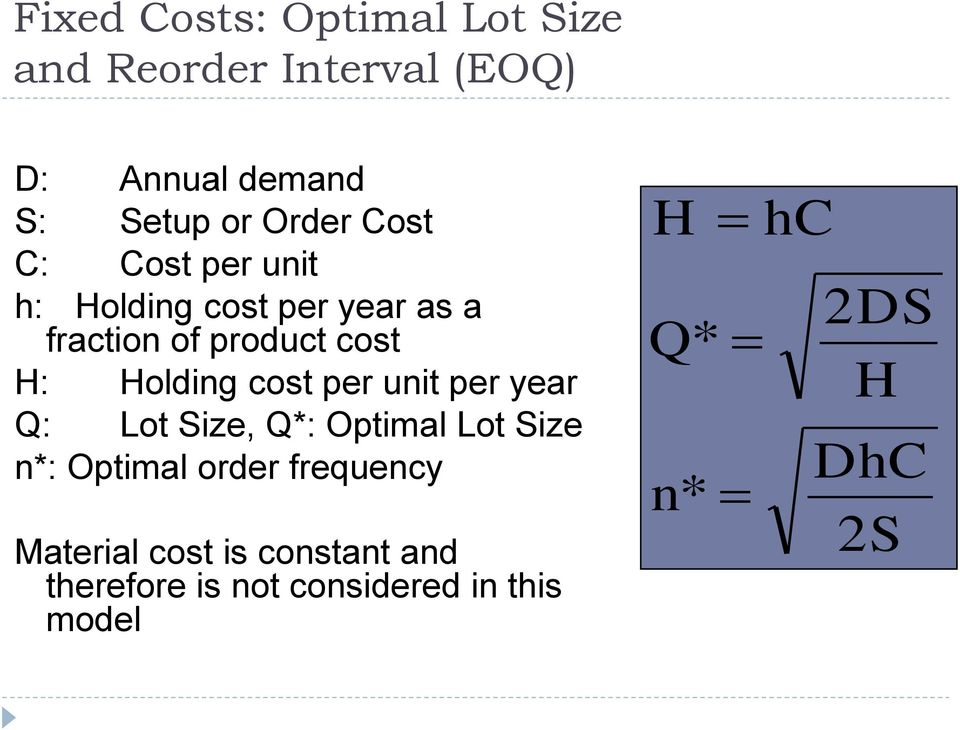 Holding cost per unit per year Q: Lot Size, Q*: Optimal Lot Size n*: Optimal order