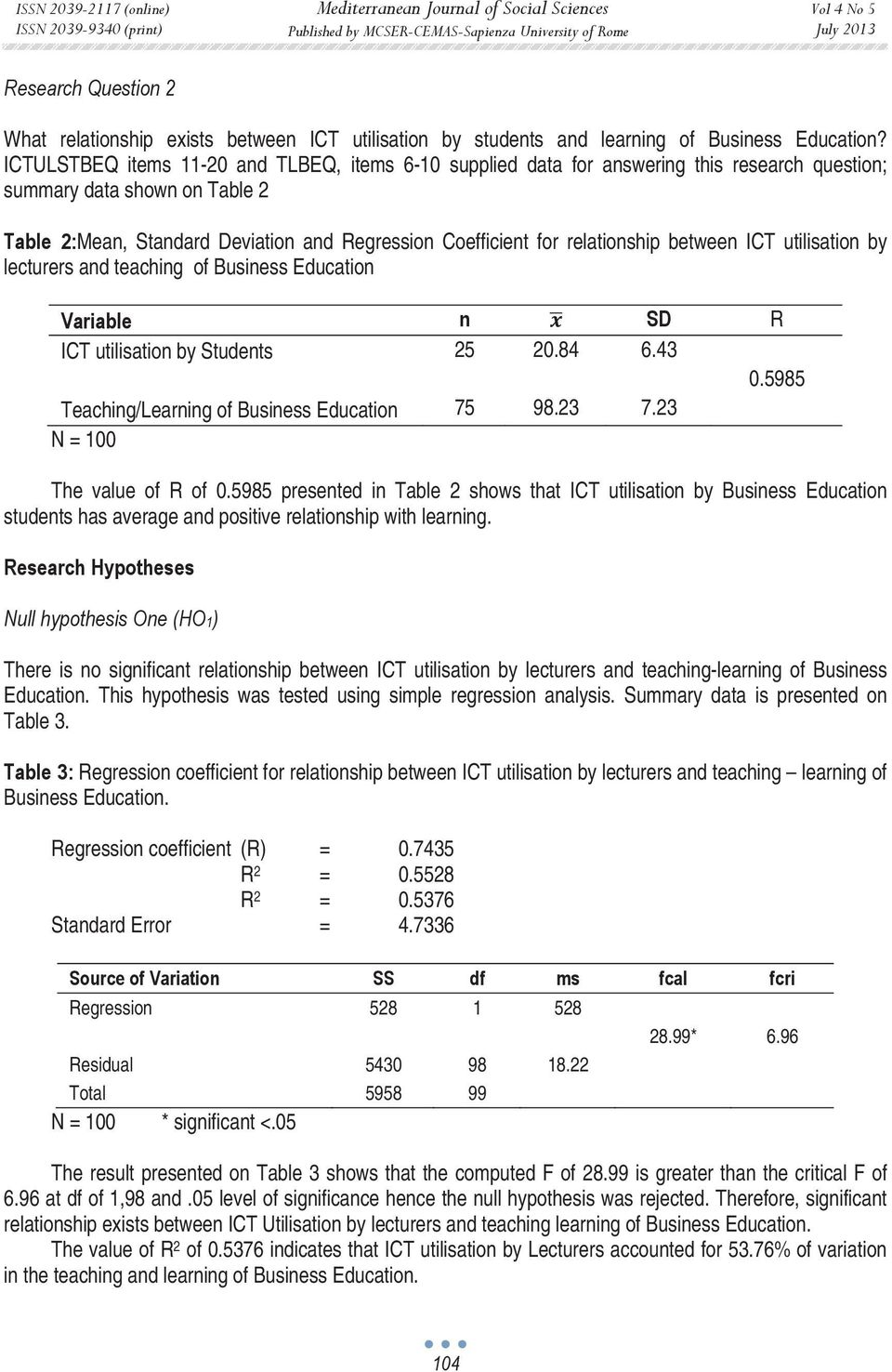 relationship between ICT utilisation by lecturers and teaching of Business Education Variable n SD R ICT utilisation by Students 25 20.84 6.43 0.5985 Teaching/Learning of Business Education 75 98.