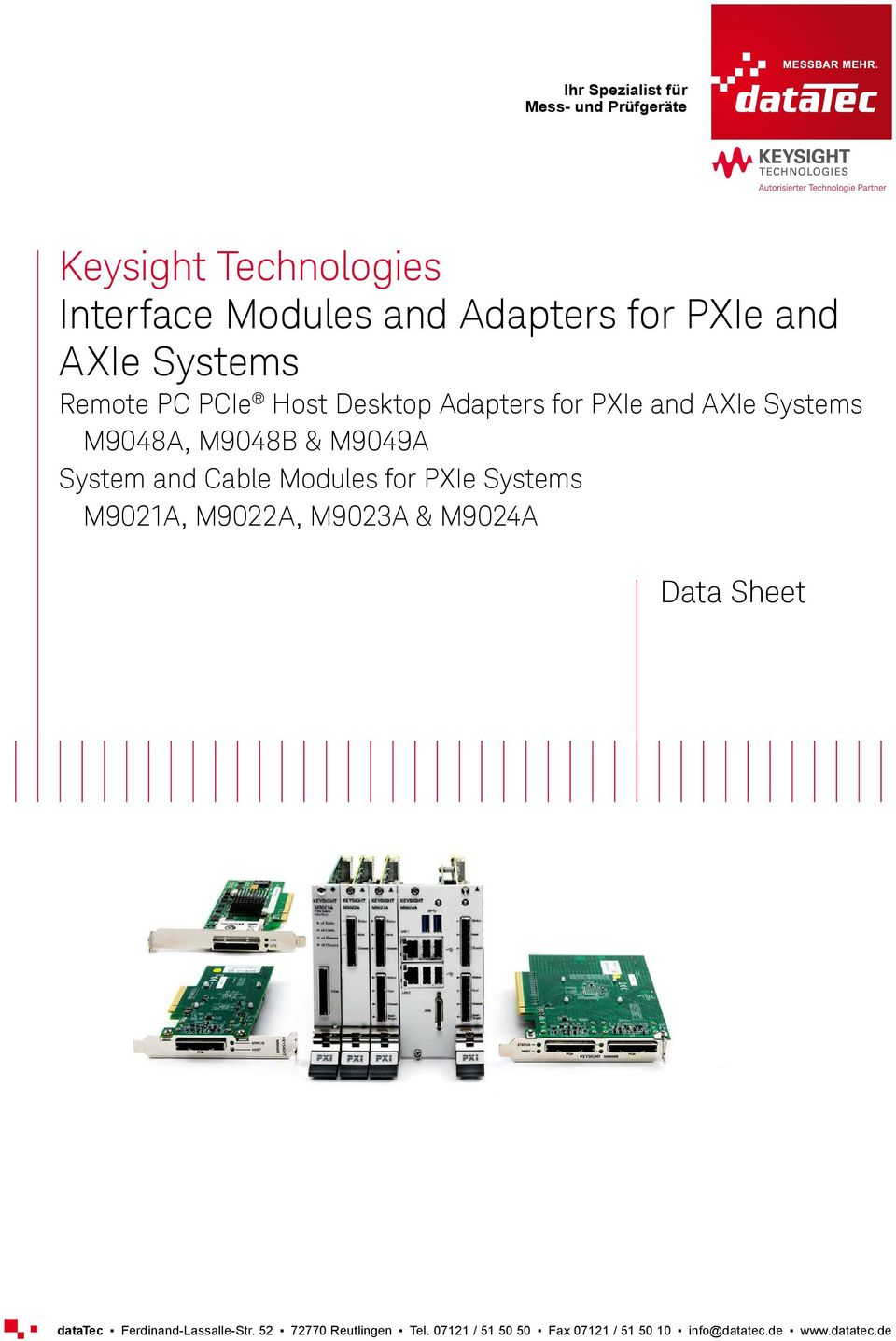 Desktop Adapters for PXIe and AXIe Systems M9048A, M9048B & M9049A