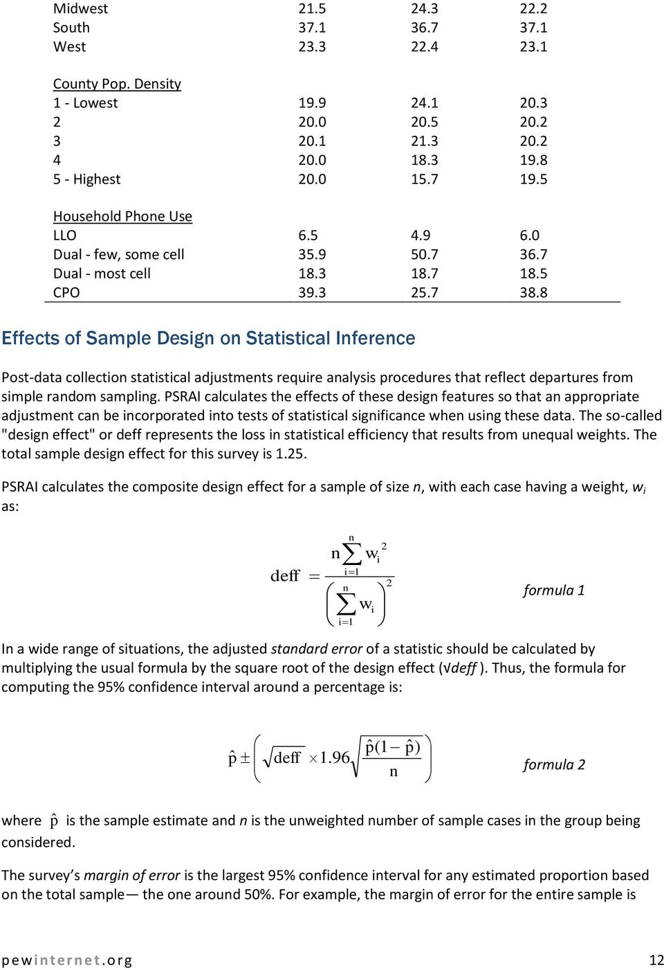 8 Effects of Sample Design on Statistical Inference Post-data collection statistical adjustments require analysis procedures that reflect departures from simple random sampling.