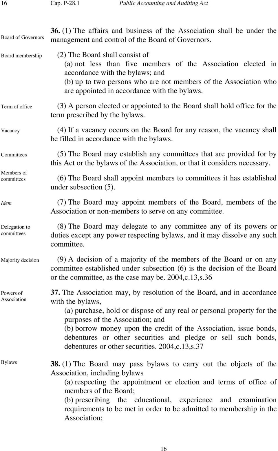 Bylaws 36. (1) The affairs and business of the Association shall be under the management and control of the Board of Governors.