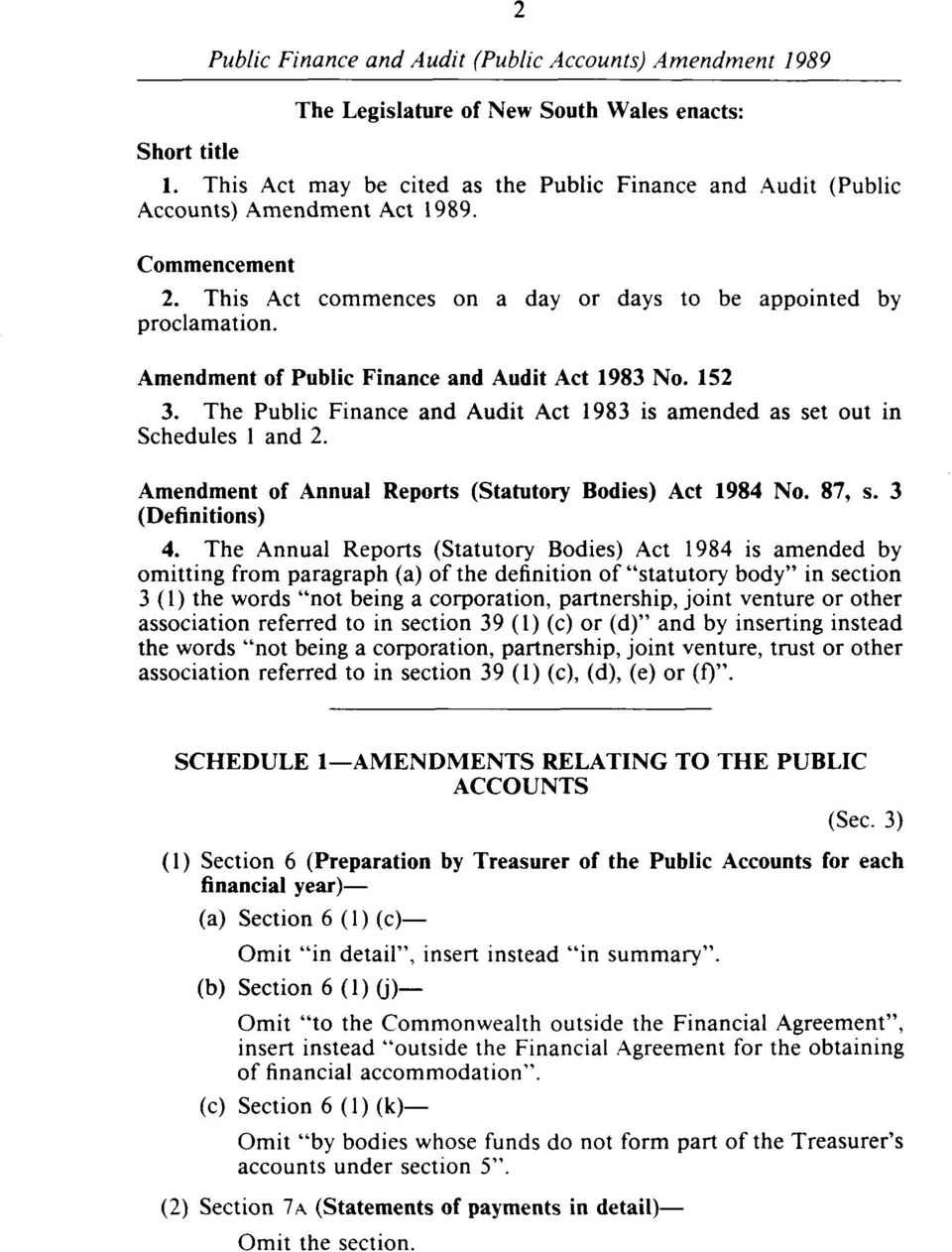 The Public Finance and Audit Act 1983 is amended as set out in Schedules 1 and 2. Amendment of Annual Reports (Statutory Bodies) Act 1984 No. 87, s. 3 (Definitions) 4.