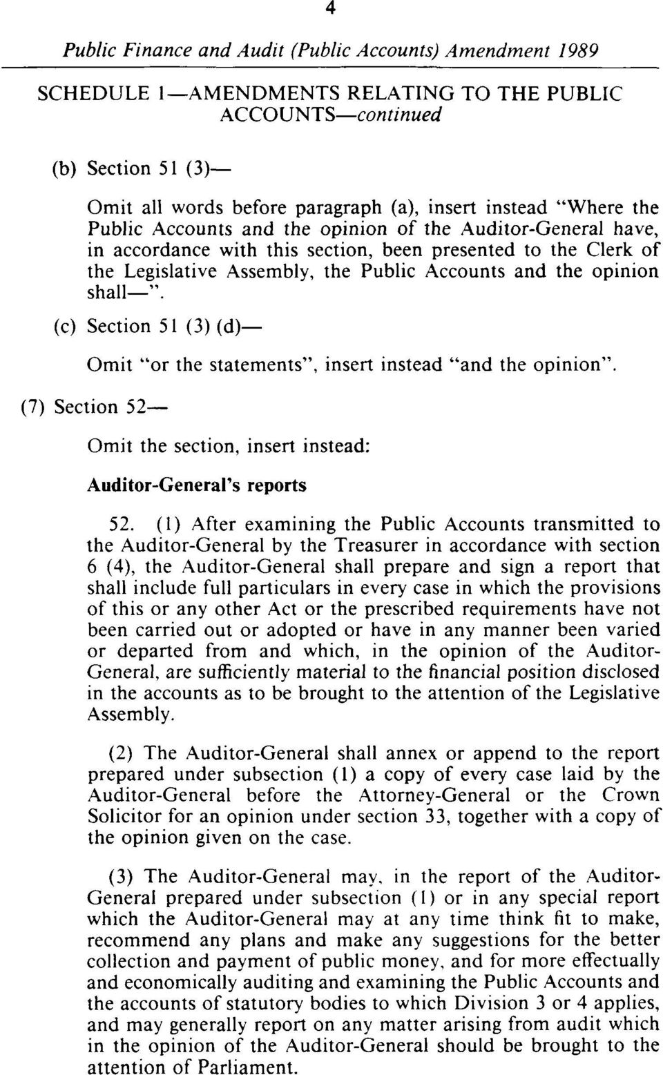 (7) Section 52 Omit the section, insert instead: Auditor-General's reports 52.